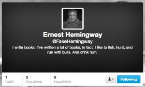 Fake Ernest Hemingway Twitter account bio