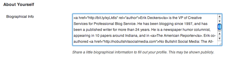 Bio Screenshot Get Ready For AuthorRank: Set Up Your Google Author Identity