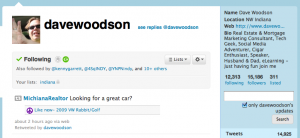 Twitter home page for Dave Woodson