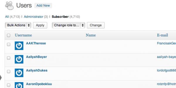 Delete Subscribers window