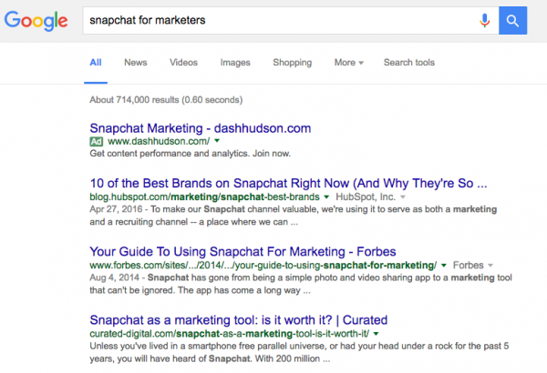 Google Results of Snapchat for Marketers