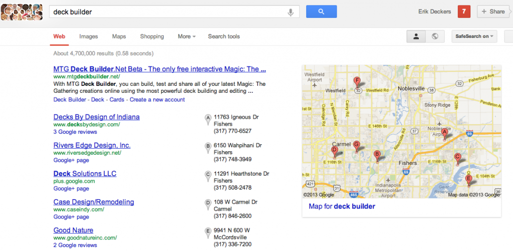 Google search for Deck Builder in north Indianapolis, IN