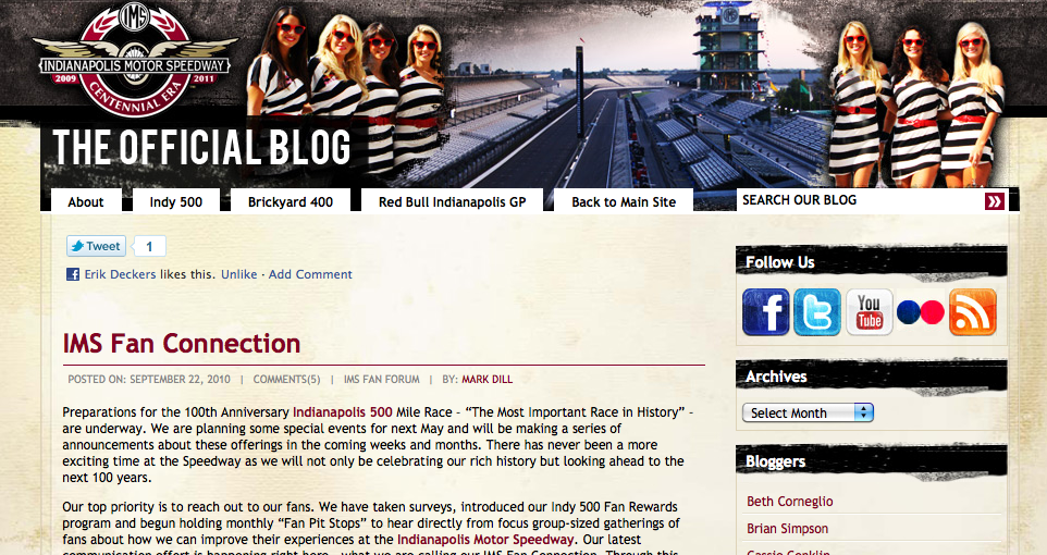 Screenshot of the Indianapolis Motor Speedway Blog