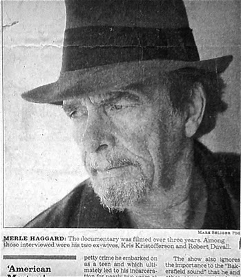 Photo from newspaper about Merle Haggard