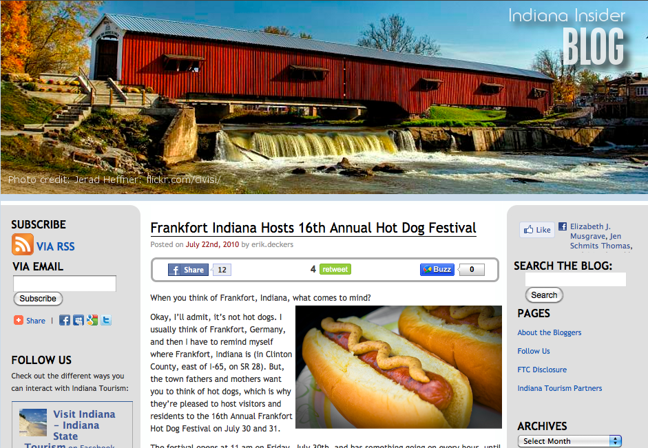Screen shot of the Indiana Insider blog from VisitIndiana.com