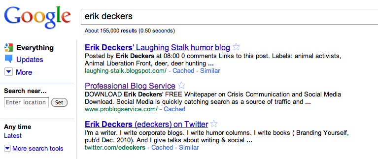 Google search results for Erik Deckers