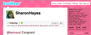 Twitter home page for Sharon Hayes
