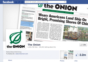 The Onion FB page 300x213 What We Can Learn About Social Media Marketing from The Onion