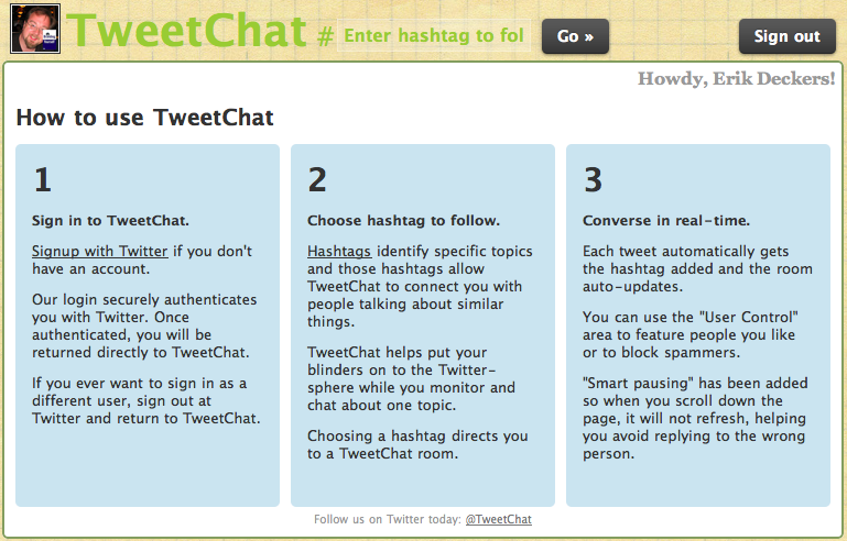 TweetChat window
