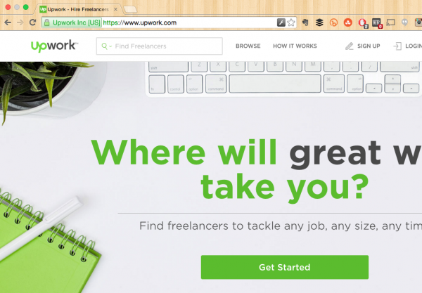 UpWork's Home Page https