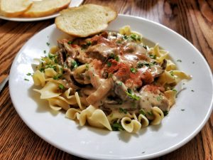 A plate of beef stroganoff. I looked and looked at it, but it teaches me nothing about blogger outreach.