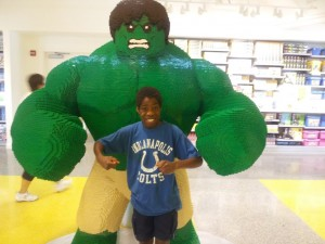 My son at the Lego Store in Orlando. There are all kinds of Lego statues throughout the store.