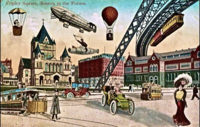 A photo of a postcard called Boston in the Future from 1910. When people ask about the future of content marketing, I always think of this image.