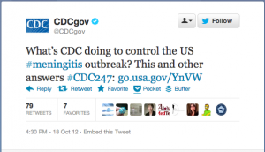 Tweet from the CDC about the meningitis outbreak