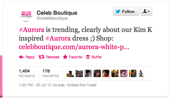 CelebBoutique tweet says #Aurora is trending, clearly about our Kim K inspired #Aurora dress.