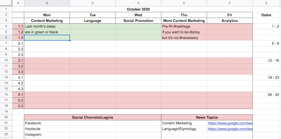 A sample editorial calendar for social media and content marketing.