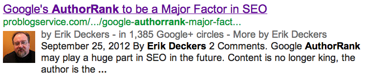 Erik Deckers' AuthorRank