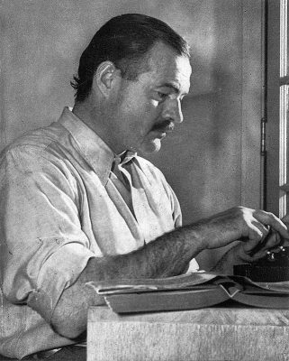 Ernest Hemingway at the typewriter. He would agree that half of all online content is shit.