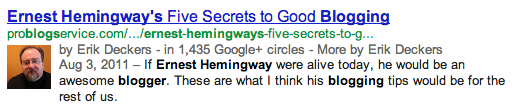 Google search results for Ernest Hemingway blogging
