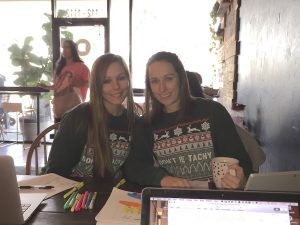 Heidi and Kelly. They're studying to be physicians assistants. I invited them to sit with me while I wrote this.