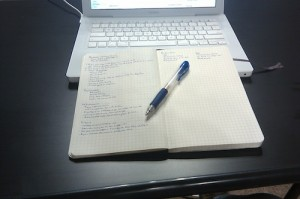 The toolkit of the writer: pen, notebook, and laptop computer