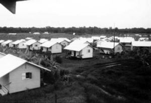 "Houses in Jonestown, where the phrase ""drink the Kool-Aid"" came from."