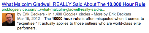 Search result about Malcolm Gladwell's 10,000 hour rule