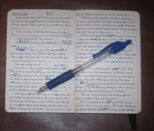 A Moleskine notebook and Pilot G-2 .05 mm blue pen