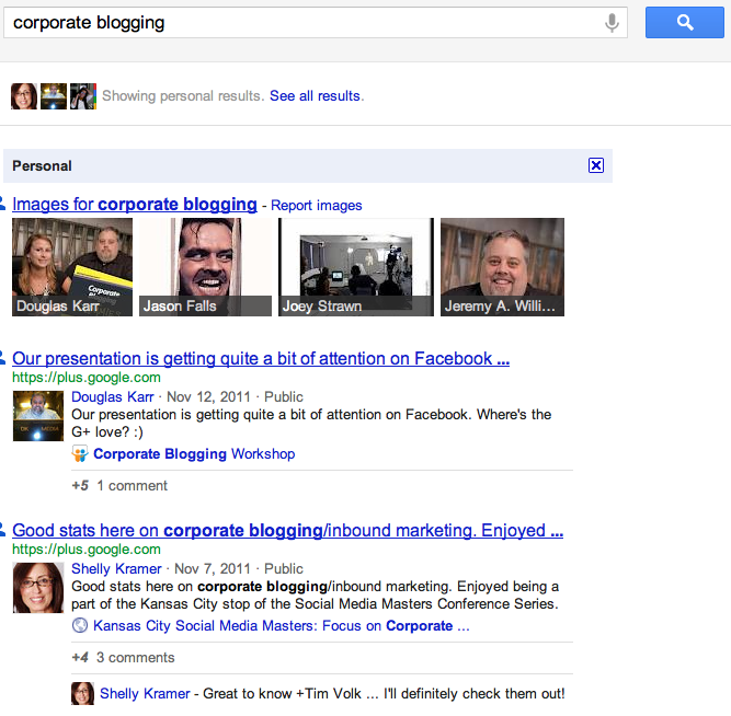 Google's Personal Results for Corporate Blogging