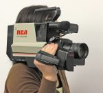 A shoulder-mounted RCA VHS video camera. Not suitable for video content marketing, no matter what happens!
