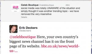 Erik Deckers' Twitter response to CelebBoutique