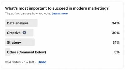 A LinkedIn survey with the options analytics, creative, or strategy.