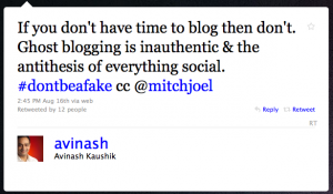 Avinash Kaushik makes a misinformed tweet about ghost blogging