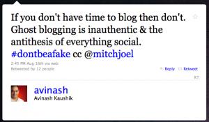 Avinash Kaushik makes a misinformed tweet about ghost blogging