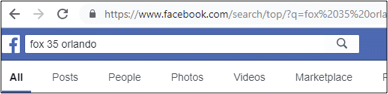 Social media for seniors: Facebook search bar, looking for WOFL Fox 35