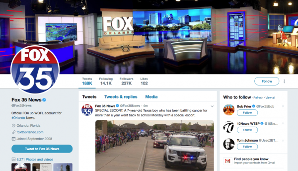 Social Media for Seniors: The WOFL FOX 35 Twitter account.