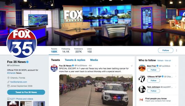 Social Media for Seniors: The WOFL FOX 35 Twitter account.