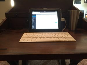 My iPad and Bluetooth keyboard - a bare bones crisis communications setup
