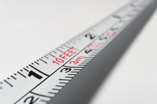At one university, a professor will measure what he or she thinks is an ideal paragraph length. This is a photo of a section of a tape measure.