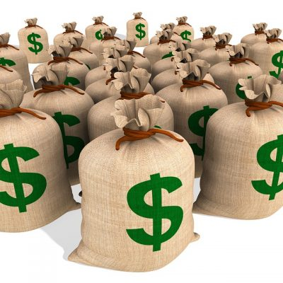 Burlap bags with dollar signs on them. It's a symbol for content marketing ROI.