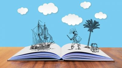 An illustration of a pirate ship and a pirate standing on an open book. Nonprofits that want to start a storytelling campaign should think of these five steps.